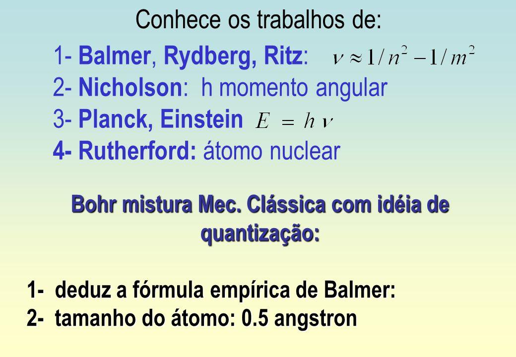 1- Balmer, Rydberg, Ritz : 2- Nicholson : h momento angular 3- Planck, Einstein 4- Rutherford: átomo nuclear Bohr mistura Mec. Clássica com idéia de q