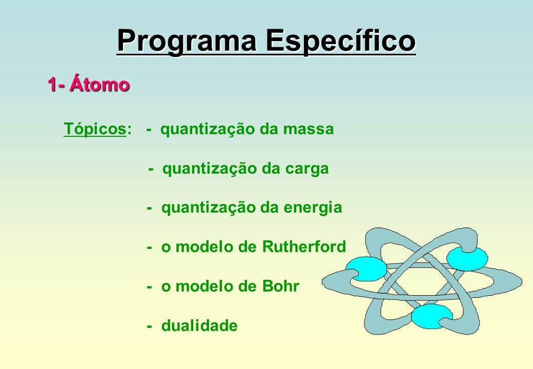 Programa Específico 1- Átomo Tópicos: - quantização da massa - quantização da carga - quantização da energia - o modelo de Rutherford - o modelo de Bo