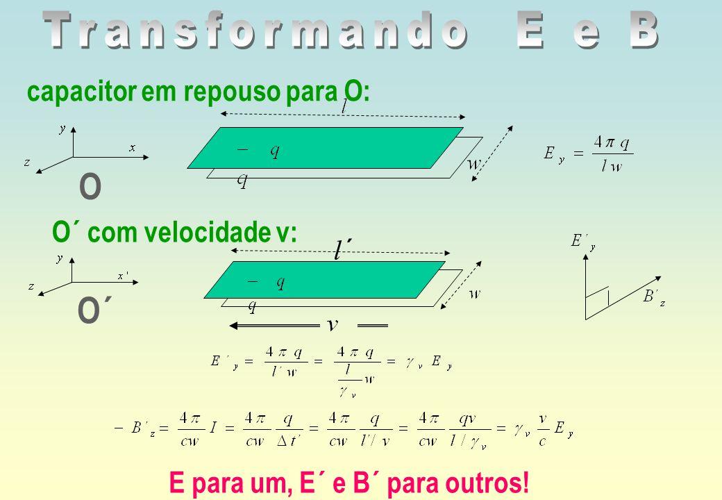 O capacitor em repouso para O: O´ com velocidade v: O´ E para um, E´ e B´ para outros! ´l