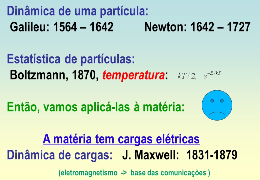 Dinâmica de uma partícula: Galileu: 1564 – 1642 Newton: 1642 – 1727 Estatística de partículas: Boltzmann, 1870, temperatura : Então, vamos aplicá-las
