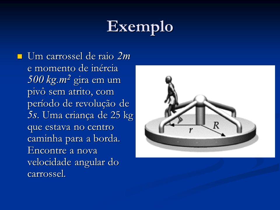 Exemplo Um carrossel de raio 2m e momento de inércia 500 kg.m 2 gira em um pivô sem atrito, com período de revolução de 5s. Uma criança de 25 kg que e