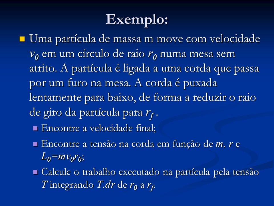 Exemplo: Uma partícula de massa m move com velocidade v 0 em um círculo de raio r 0 numa mesa sem atrito. A partícula é ligada a uma corda que passa p