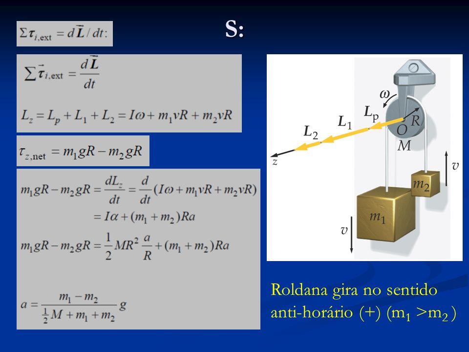 Conservação de momentum angular Quando o torque resultante externo é nulo: Quando o torque resultante externo é nulo: ou Lei de Conservação do Momentum Angular: Se o torque resultante externo atuando num sistema é zero