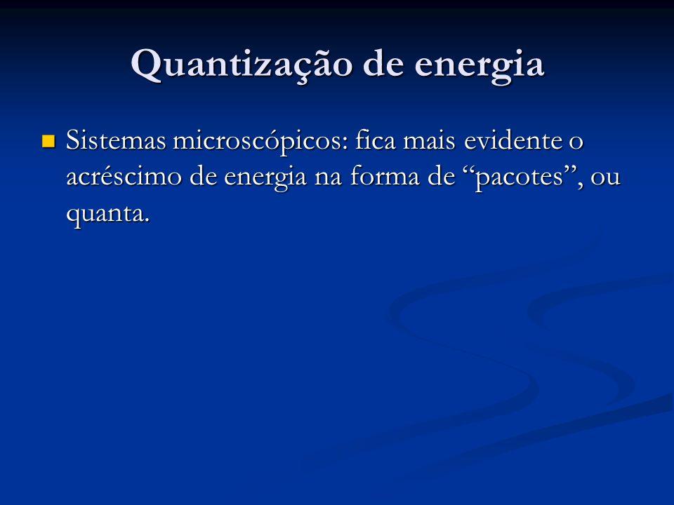 Quantização de energia Sistemas microscópicos: fica mais evidente o acréscimo de energia na forma de pacotes, ou quanta. Sistemas microscópicos: fica