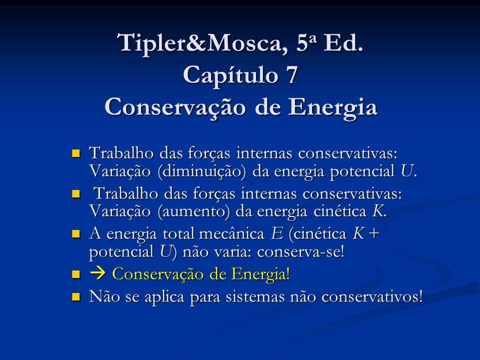 Tipler&Mosca, 5 a Ed. Capítulo 7 Conservação de Energia Trabalho das forças internas conservativas: Variação (diminuição) da energia potencial U. Trab