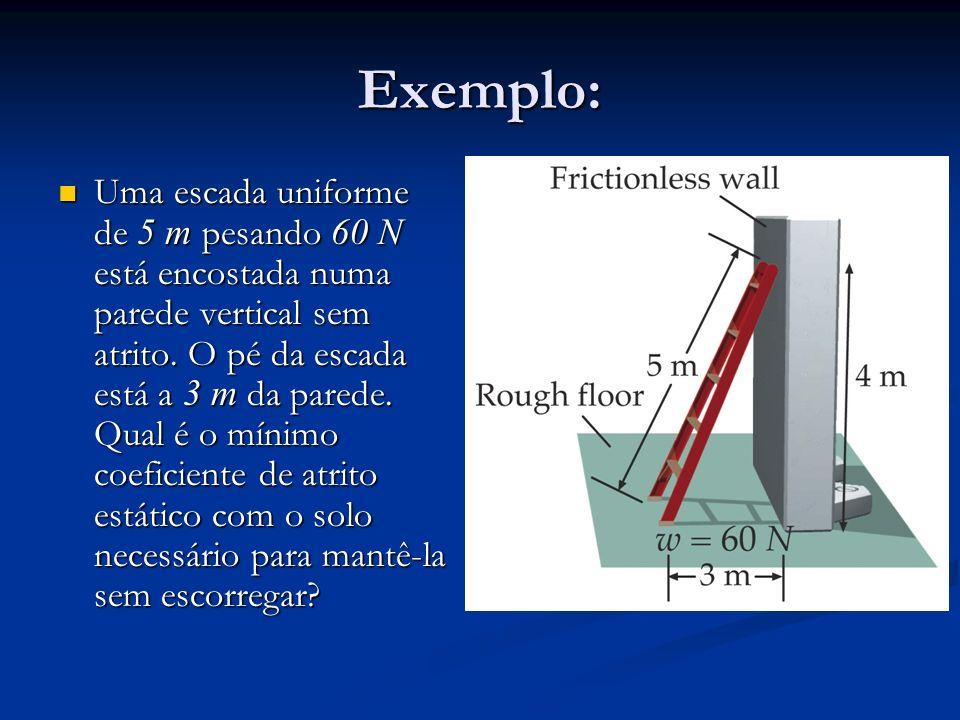 Exemplo: Uma escada uniforme de 5 m pesando 60 N está encostada numa parede vertical sem atrito. O pé da escada está a 3 m da parede. Qual é o mínimo