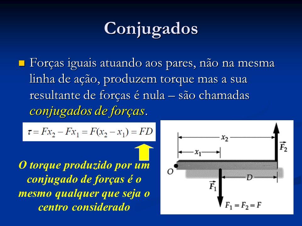 Conjugados Forças iguais atuando aos pares, não na mesma linha de ação, produzem torque mas a sua resultante de forças é nula – são chamadas conjugado