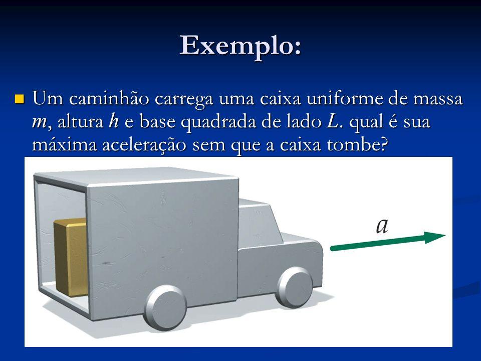 Exemplo: Um caminhão carrega uma caixa uniforme de massa m, altura h e base quadrada de lado L. qual é sua máxima aceleração sem que a caixa tombe? Um