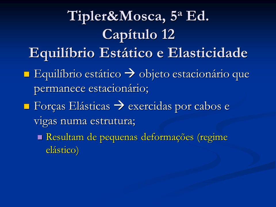 Tipler&Mosca, 5 a Ed. Capítulo 12 Equilíbrio Estático e Elasticidade Equilíbrio estático objeto estacionário que permanece estacionário; Equilíbrio es