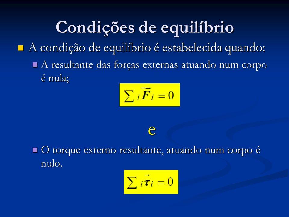 Condições de equilíbrio A condição de equilíbrio é estabelecida quando: A condição de equilíbrio é estabelecida quando: A resultante das forças extern