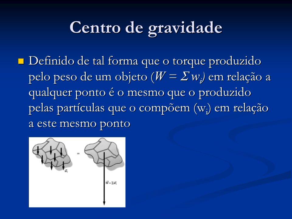 Centro de gravidade Definido de tal forma que o torque produzido pelo peso de um objeto ( W = w i ) em relação a qualquer ponto é o mesmo que o produz