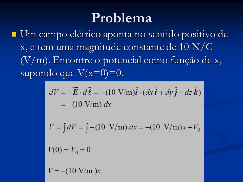 Problema Um campo elétrico aponta no sentido positivo de x, e tem uma magnitude constante de 10 N/C (V/m). Encontre o potencial como função de x, supo