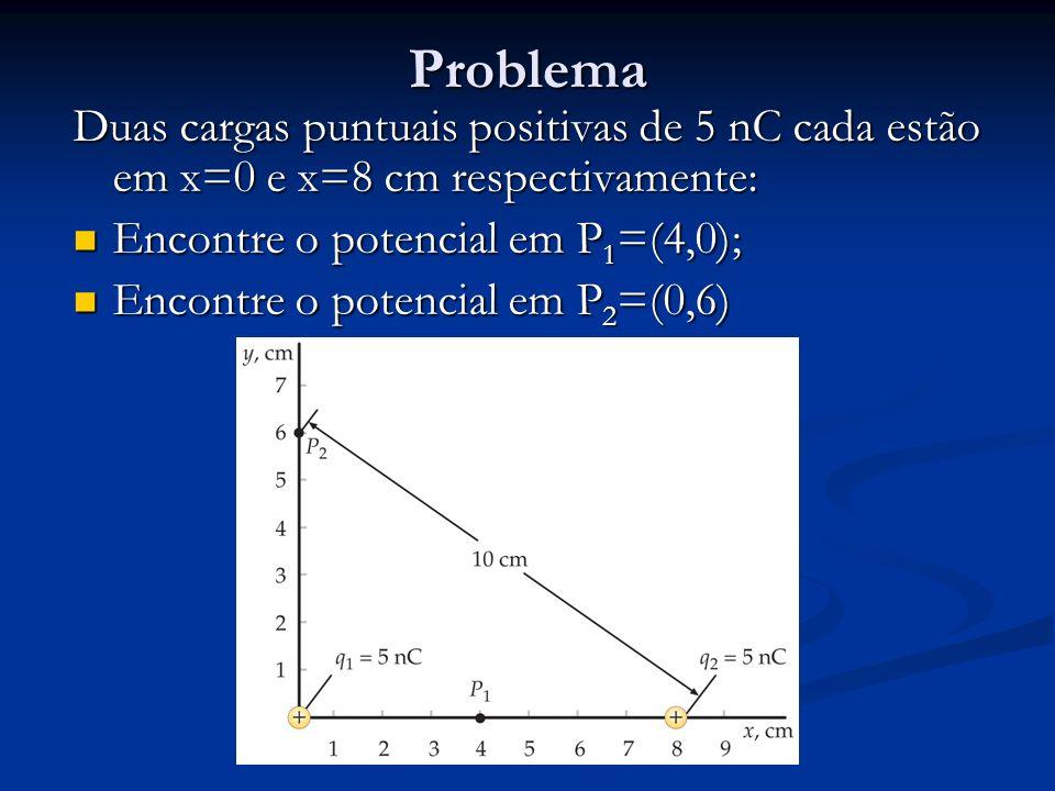 Problema Duas cargas puntuais positivas de 5 nC cada estão em x=0 e x=8 cm respectivamente: Encontre o potencial em P 1 =(4,0); Encontre o potencial e