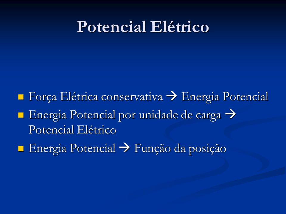 Potencial Elétrico Força Elétrica conservativa Energia Potencial Força Elétrica conservativa Energia Potencial Energia Potencial por unidade de carga