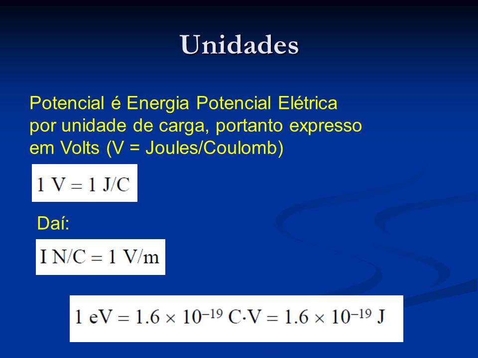 Unidades Potencial é Energia Potencial Elétrica por unidade de carga, portanto expresso em Volts (V = Joules/Coulomb) Daí: