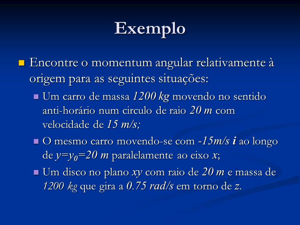 Exemplo Encontre o momentum angular relativamente à origem para as seguintes situações: Encontre o momentum angular relativamente à origem para as seg