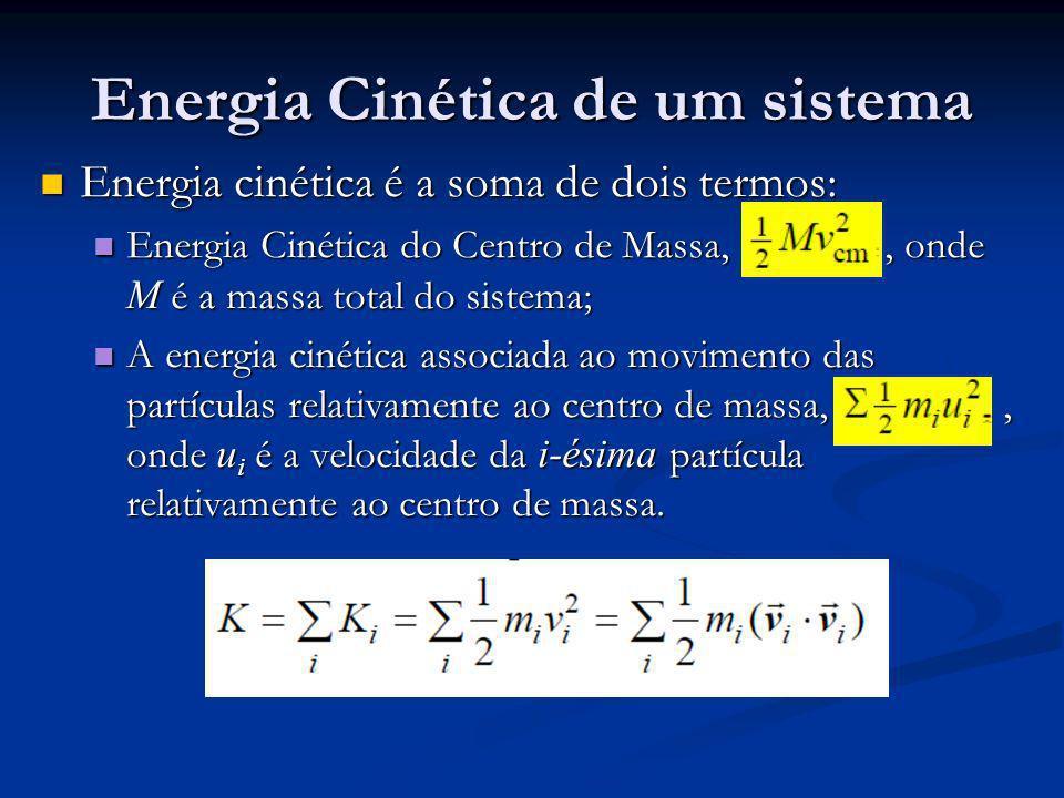 Energia Cinética de um sistema Energia cinética é a soma de dois termos: Energia cinética é a soma de dois termos: Energia Cinética do Centro de Massa