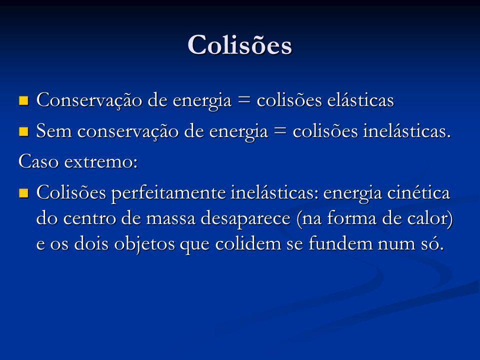 Colisões Conservação de energia = colisões elásticas Conservação de energia = colisões elásticas Sem conservação de energia = colisões inelásticas.