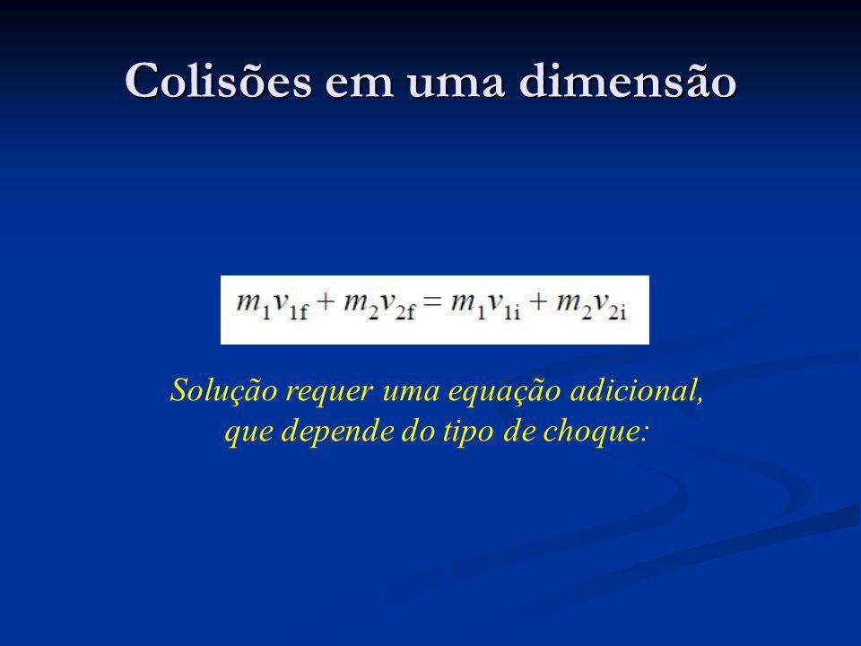 Colisões em uma dimensão Solução requer uma equação adicional, que depende do tipo de choque: