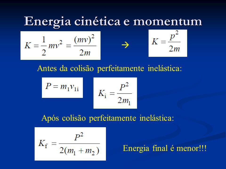 Energia cinética e momentum Antes da colisão perfeitamente inelástica: Após colisão perfeitamente inelástica: Energia final é menor!!!