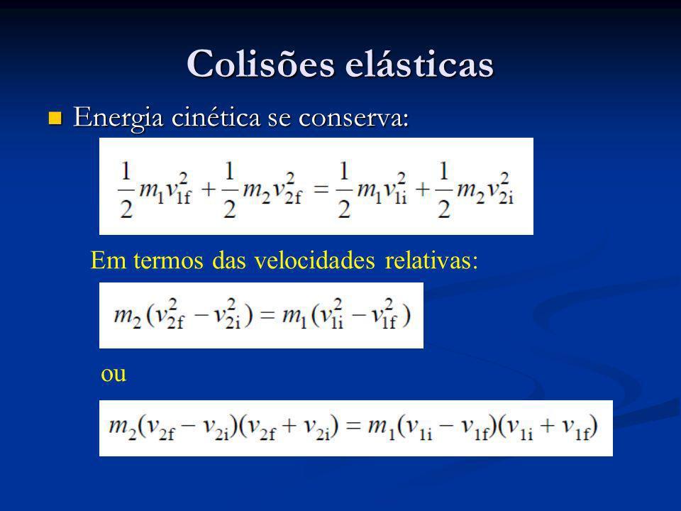 Colisões elásticas Energia cinética se conserva: Energia cinética se conserva: Em termos das velocidades relativas: ou