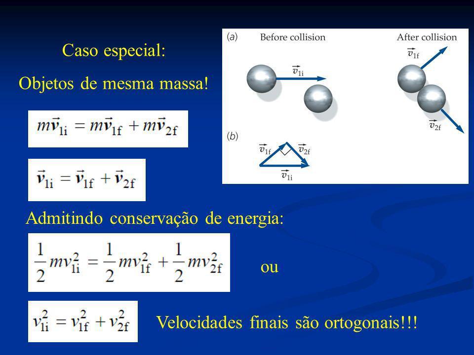 Caso especial: Objetos de mesma massa! Admitindo conservação de energia: ou Velocidades finais são ortogonais!!!