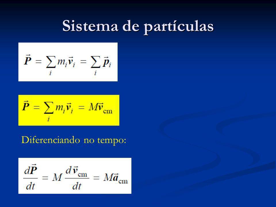 Energia Cinética de um sistema Energia cinética é a soma de dois termos: Energia cinética é a soma de dois termos: Energia Cinética do Centro de Massa,, onde M é a massa total do sistema; Energia Cinética do Centro de Massa,, onde M é a massa total do sistema; A energia cinética associada ao movimento das partículas relativamente ao centro de massa,, onde u i é a velocidade da i-ésima partícula relativamente ao centro de massa.