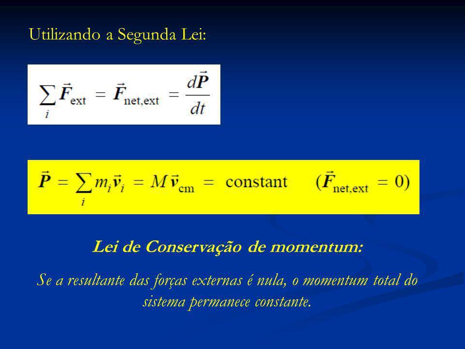 Utilizando a Segunda Lei: Lei de Conservação de momentum: Se a resultante das forças externas é nula, o momentum total do sistema permanece constante.