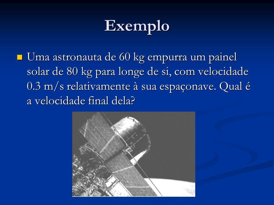Exemplo Uma astronauta de 60 kg empurra um painel solar de 80 kg para longe de si, com velocidade 0.3 m/s relativamente à sua espaçonave. Qual é a vel