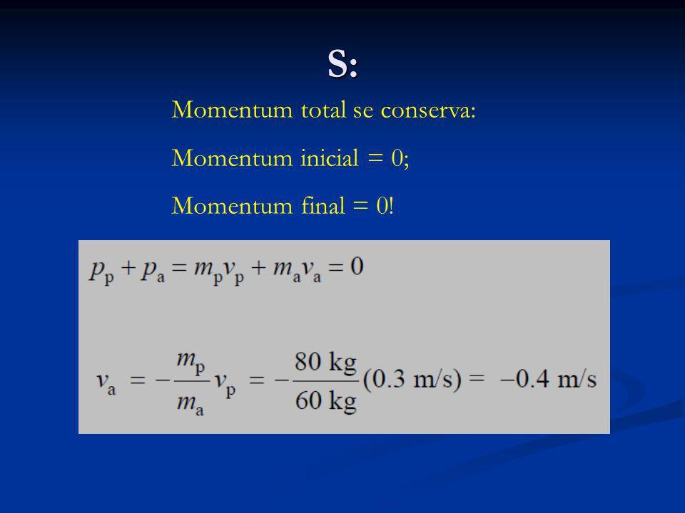 S: Momentum total se conserva: Momentum inicial = 0; Momentum final = 0!