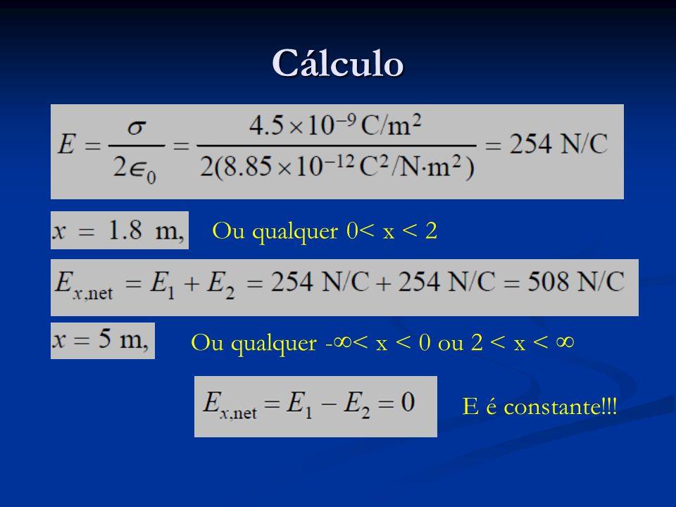 Cálculo Ou qualquer -< x < 0 ou 2 < x < Ou qualquer 0< x < 2 E é constante!!!
