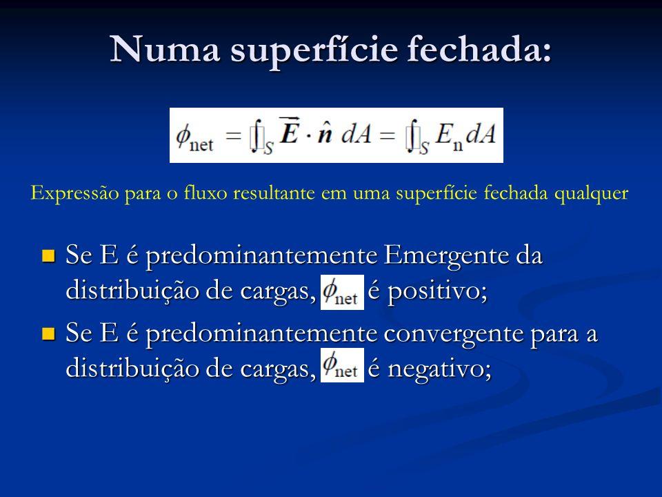 Numa superfície fechada: Expressão para o fluxo resultante em uma superfície fechada qualquer Se E é predominantemente Emergente da distribuição de ca