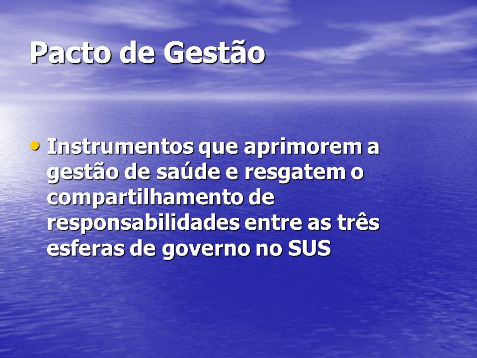 Pacto de Gestão Instrumentos que aprimorem a gestão de saúde e resgatem o compartilhamento de responsabilidades entre as três esferas de governo no SU