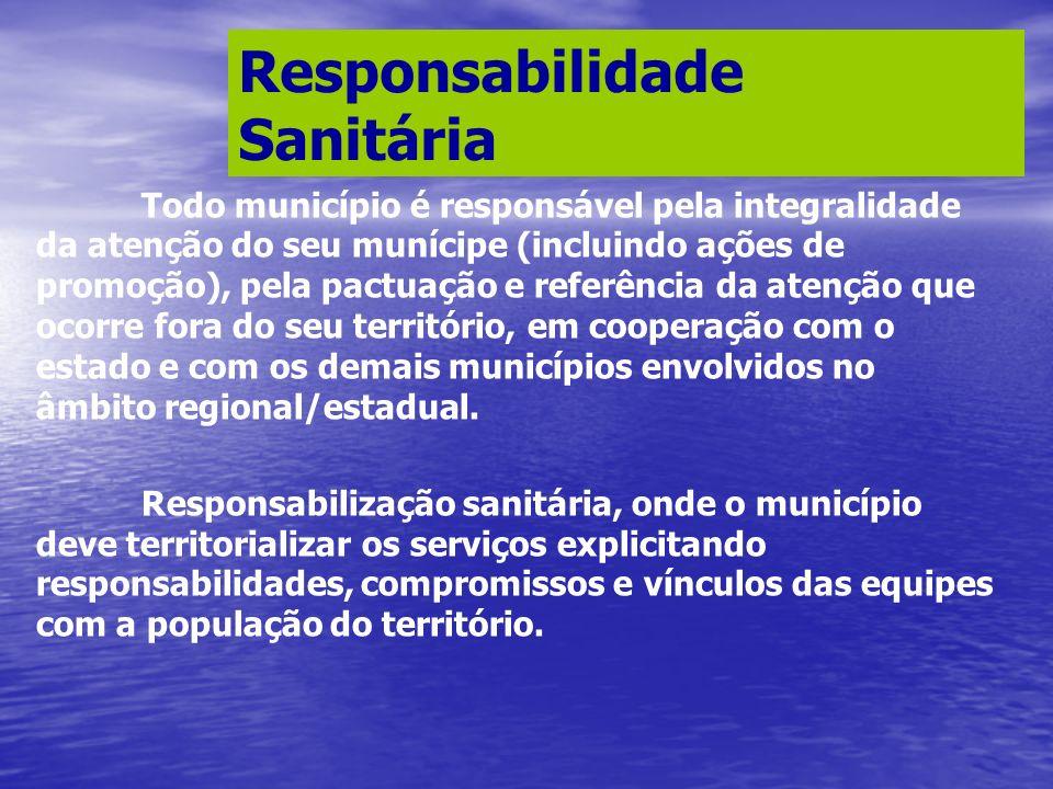 Todo município é responsável pela integralidade da atenção do seu munícipe (incluindo ações de promoção), pela pactuação e referência da atenção que o