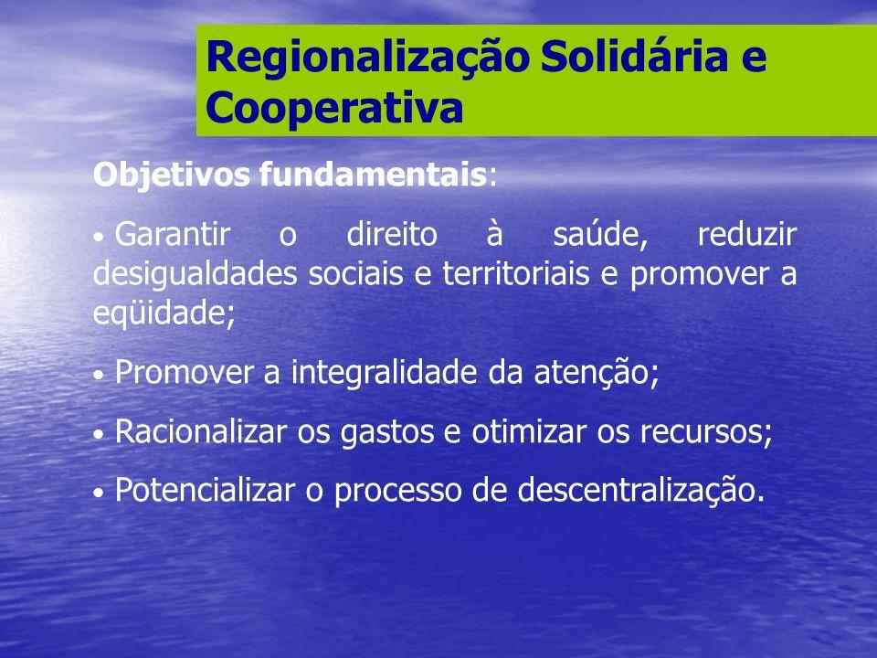 Regionalização Solidária e Cooperativa Objetivos fundamentais: Garantir o direito à saúde, reduzir desigualdades sociais e territoriais e promover a e