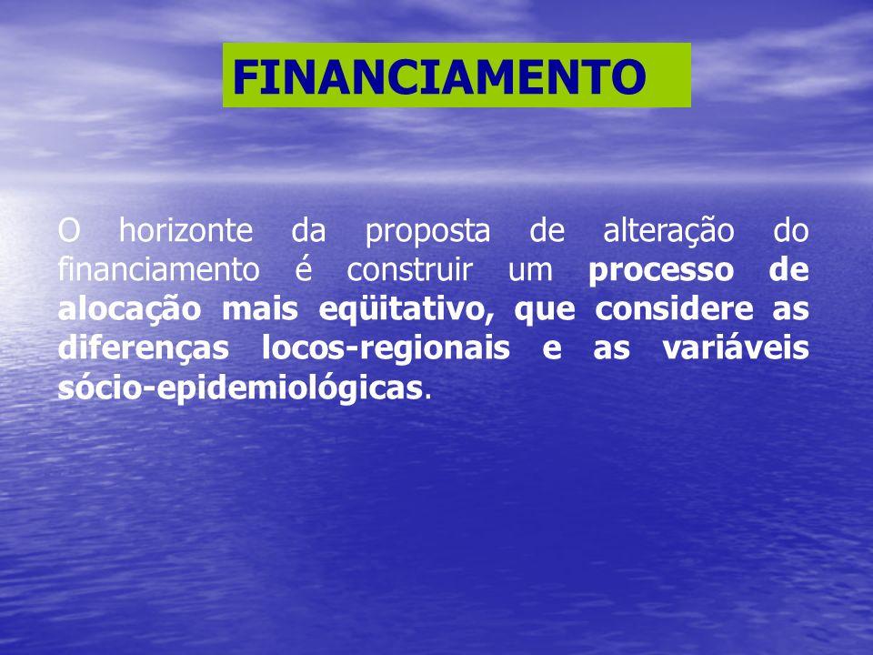 FINANCIAMENTO O horizonte da proposta de alteração do financiamento é construir um processo de alocação mais eqüitativo, que considere as diferenças l