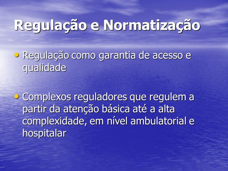 Regulação e Normatização Regulação como garantia de acesso e qualidade Regulação como garantia de acesso e qualidade Complexos reguladores que regulem