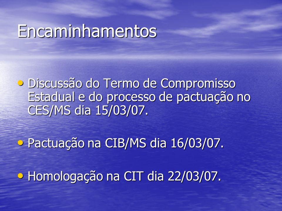 Encaminhamentos Discussão do Termo de Compromisso Estadual e do processo de pactuação no CES/MS dia 15/03/07. Discussão do Termo de Compromisso Estadu