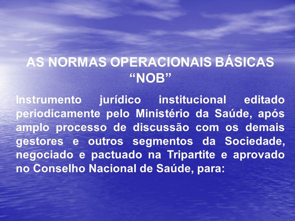 AS NORMAS OPERACIONAIS BÁSICAS NOB Instrumento jurídico institucional editado periodicamente pelo Ministério da Saúde, após amplo processo de discussã