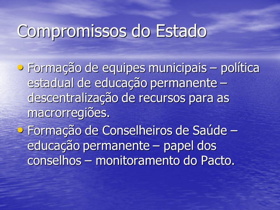 Compromissos do Estado Formação de equipes municipais – política estadual de educação permanente – descentralização de recursos para as macrorregiões.