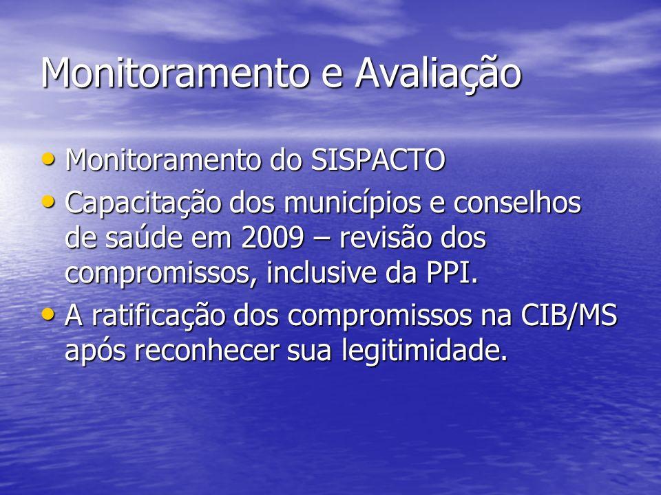 Monitoramento e Avaliação Monitoramento do SISPACTO Monitoramento do SISPACTO Capacitação dos municípios e conselhos de saúde em 2009 – revisão dos co