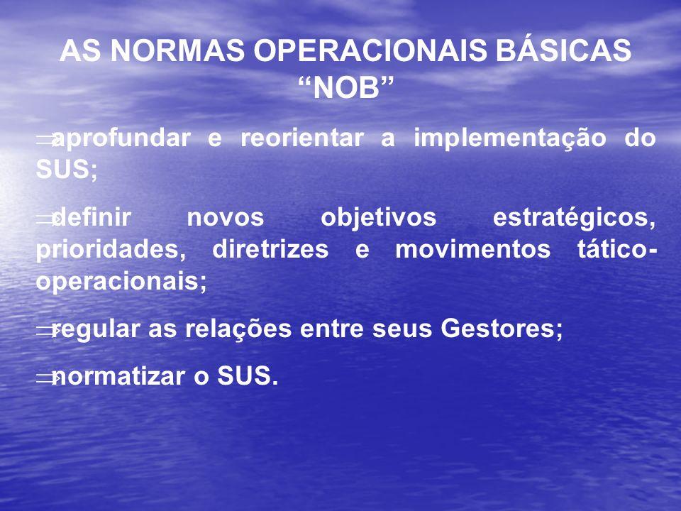 AS NORMAS OPERACIONAIS BÁSICAS NOB aprofundar e reorientar a implementação do SUS; definir novos objetivos estratégicos, prioridades, diretrizes e mov