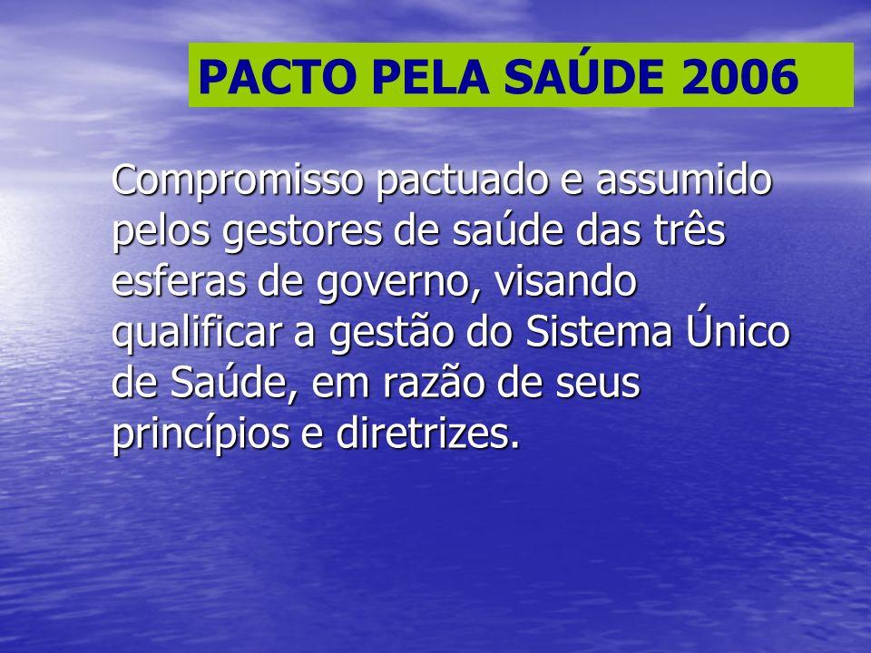 PACTO PELA SAÚDE 2006 C ompromisso pactuado e assumido pelos gestores de saúde das três esferas de governo, visando qualificar a gestão do Sistema Úni