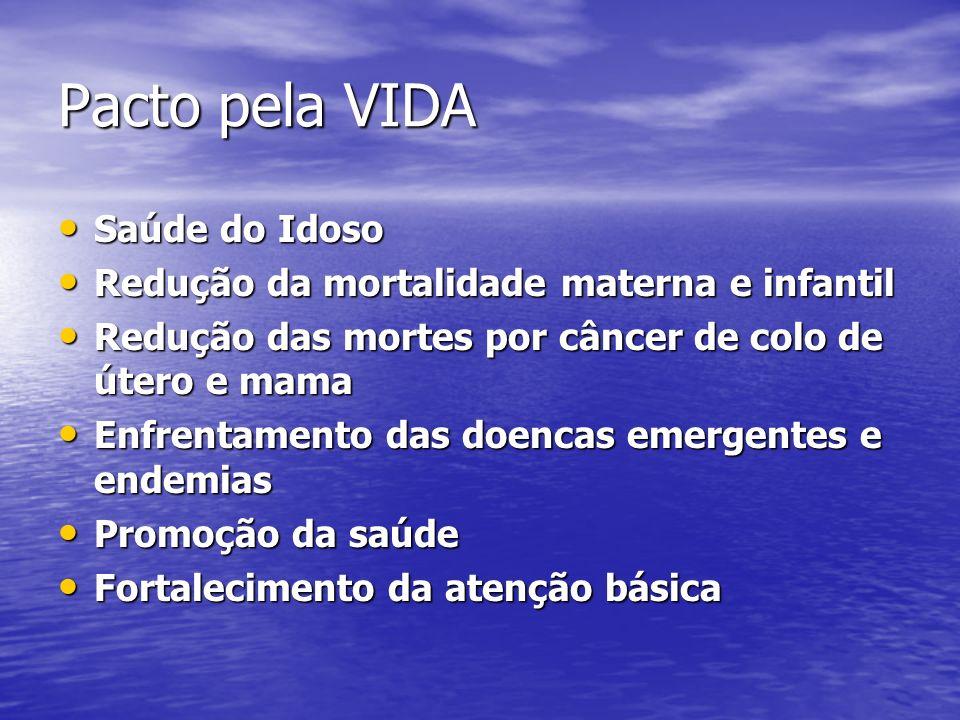 Pacto pela VIDA Saúde do Idoso Saúde do Idoso Redução da mortalidade materna e infantil Redução da mortalidade materna e infantil Redução das mortes p