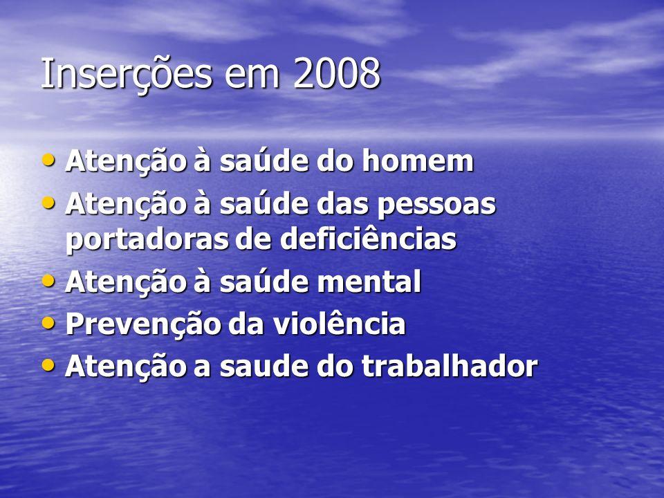 Inserções em 2008 Atenção à saúde do homem Atenção à saúde do homem Atenção à saúde das pessoas portadoras de deficiências Atenção à saúde das pessoas