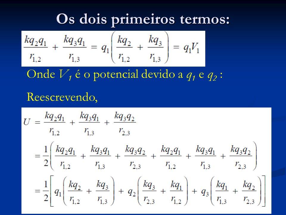 Os dois primeiros termos: Onde V 1 é o potencial devido a q 1 e q 2 : Reescrevendo,