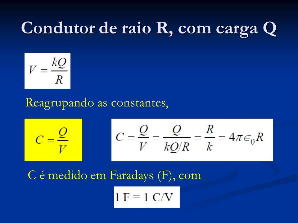 Condutor de raio R, com carga Q Reagrupando as constantes, C é medido em Faradays (F), com