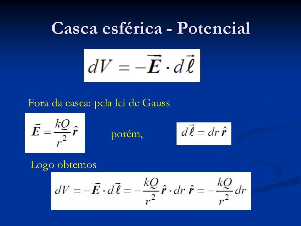 Casca esférica - Potencial Fora da casca: pela lei de Gauss porém, Logo obtemos