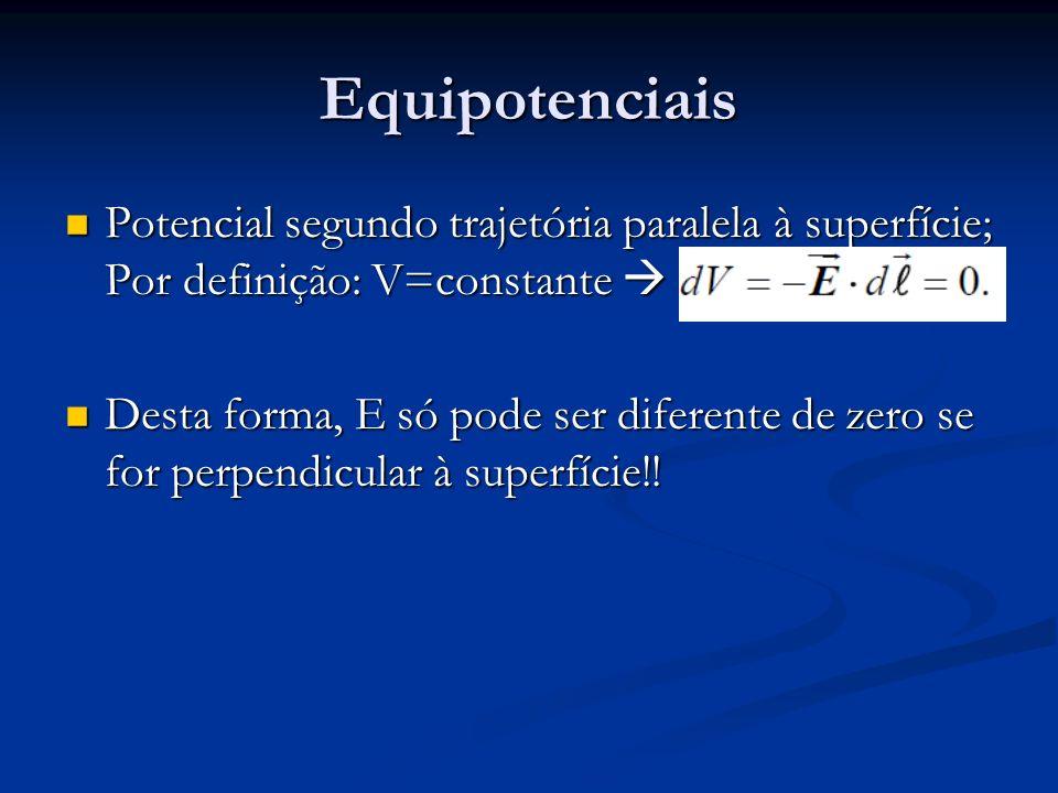 Equipotenciais Potencial segundo trajetória paralela à superfície; Por definição: V=constante Potencial segundo trajetória paralela à superfície; Por