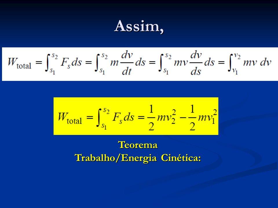Assim, Teorema Trabalho/Energia Cinética: